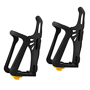 EEEKit 2 Pack Water Bottle Beverage Holder Adjustable Plastic Durable Mountain Bike Cycling Road Bicycle Rack Drink Can Mount Basket Black