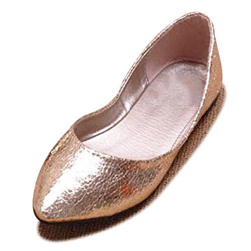 OCHENTA PU artificial Mujeres zapatos planos del ballet de la boca baja Dorado
