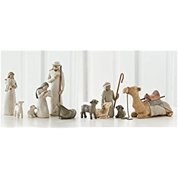 Willow Tree Nativity Holy Family and Shepherd and Stable Animals Set of 10 Figures