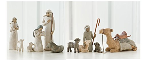 Willow Tree Nativity Holy Family and Shepherd and Stable Animals Set of 10 Figures by Demdaco