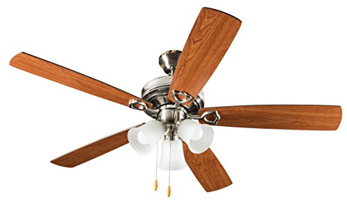 Hyperikon 42 Inch Ceiling Fan, with Pull Chain, Classical Style, Brushed Nickel, 5 Reversable Blades, Bulbs Not Included Classic Nickel Ceiling Fan