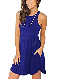 Women's Sleeveless Loose Plain Dresses Casual Short Dress...