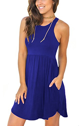 Unbranded* Women's Sleeveless Loose Plain Dresses Casual Short Dress with Pockets Royal Blue X-Large (Summer Blue Dress)