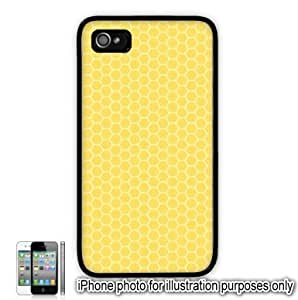Yellow Honeycomb Pattern Apple iPhone 4 4S Case Cover Skin Black