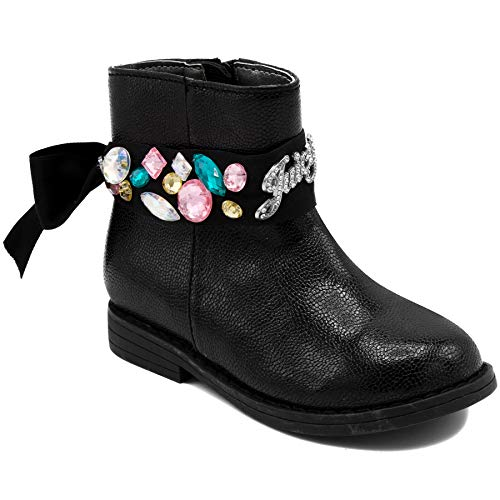 Couture Pink Juicy Leather (Juicy Couture Kids JC Lil Naples Girls Low Shaft Black Ankle Boot 5 Toddler)
