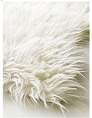 سجادة صناعية بيضاء من فرو الخروف