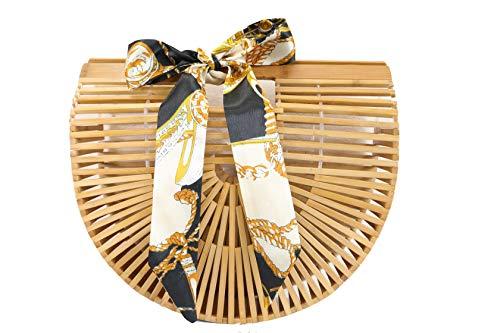 Summer Bag Size Yuboo Tote Beach small Handbag Bamboo 2 Women Hobo qSw100t