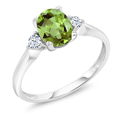 Gem Stone King 10K White Gold Green Peridot and White Created Sapphire 3-Stone Women's Ring 1.43 Ct (Size 6)