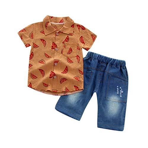 (Baby Boys Summer Sleeve Short Polo Shirts and Stripe Shorts 2pcs Shorts Set Outfit Yamally)