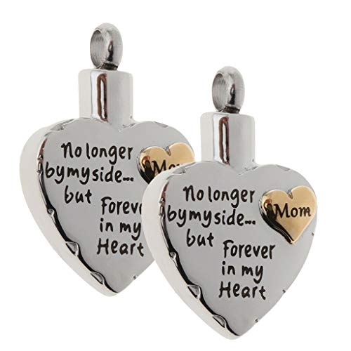 2pcs Mom 3D Heart Forever in My Heart Cremation Memorial Urn Pendant Jewelry Necklace Jewelry Crafting Key Chain Bracelet Pendants Accessories Best