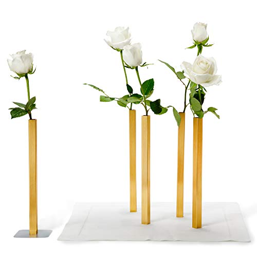 PELEG DESIGN Magnetic Flower Vase - Unique and Modern Set of 5 Golden Aluminum Vases for Home Garden Decor from PELEG DESIGN