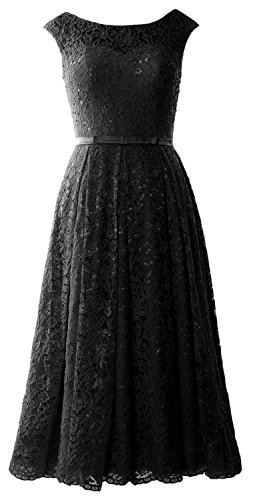 Cocktail Formal Sleeve Caps Length Dress MACloth Gown Lace Wedding Schwarz Tea Party z5tanAqA