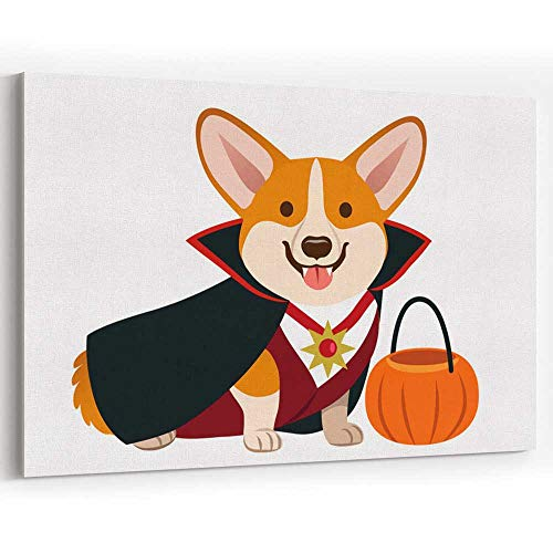 Actorstion Corgi Dog Wearing Vampire Halloween Costume with Black Cape Canvas Art Wall Dector,Wall Art Canvas -