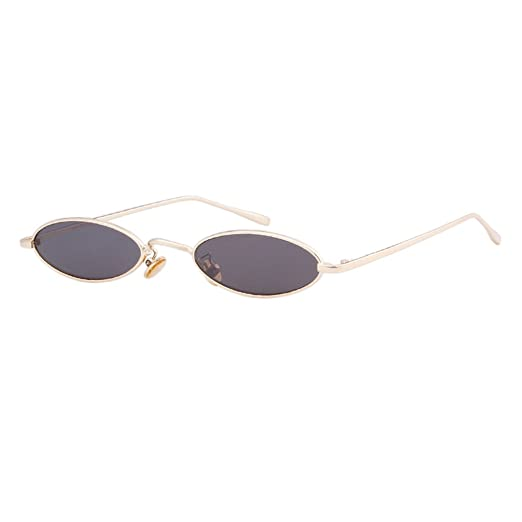 4906934dea QIFANDI Vintage Small Oval Sunglasses Slender Metal Frame Chic Clear Candy  Colors Glasses(Gold Frame Grey