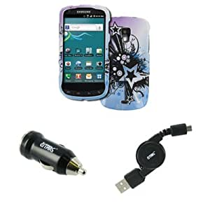 EMPIRE Samsung Galaxy S Aviator R930 Design Case Cover (Purple and Blue Starburst) + USB Car Charger Adapter + Retractable USB 2.0 Data Cable [EMPIRE Packaging]