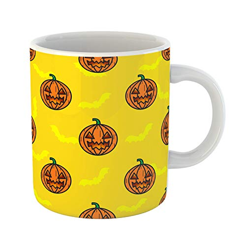 Emvency Coffee Tea Mug Gift 11 Ounces Funny Ceramic Pumpkin Yellow Pattern Halloween Doodle Character Holidays Raster Gifts For Family Friends Coworkers Boss Mug ()