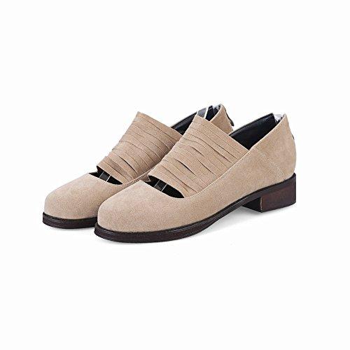 Mee Shoes Women's Chic Zip Block Heel Court Shoes Beige bxCuM