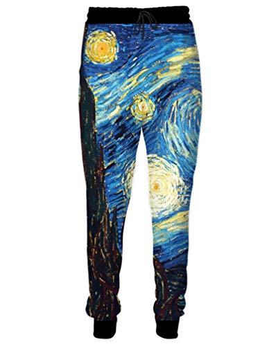 Dorathy Men Women Vincent Van Gogh Oil Painting Starry Night Print Joggers Pants Hip Hop Sweatpants