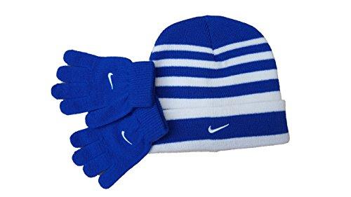 - Nike Game Royal Winter Ski Hat Cap Glove Set, Game RoyalBlue/White Stripe, Boy's 8/20