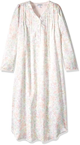Miss Elaine Women's Big and Tall Brushed Back Satin LNG Gown, Peach Floral, (Miss Elaine Satin Nightgown)
