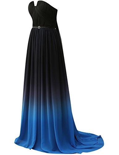 Novia Fiesta Vestidos Noche De 3 Una Azul Gasa Largo Mujer Jaeden Linea wOp4qw