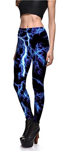 Alivewise Womens Hot Sale Digital Print Galaxy Star Printed High Waist Leggings Pants (Lightning) (Leggings For Women Lightning)