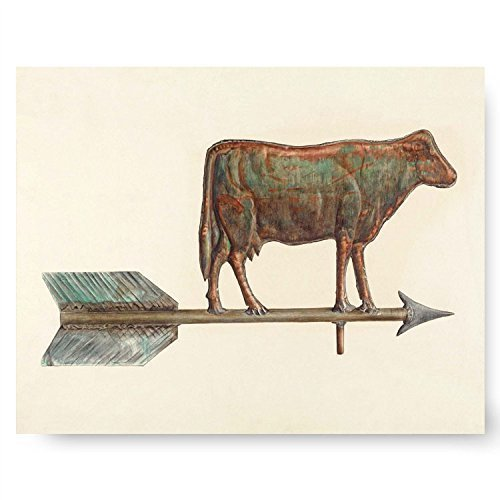 "Cow Art, Arrow Artwork (Ranch Wall Decor, Farmhouse Illustration, Farm Animal Print) ""Cow Weather Vane"" – Unframed"