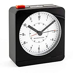 Marathon CL030053BK/WH Silent Non-Ticking Alarm Clock with Warm Amber Auto Back Light and Repeating Snooze. Color-Black Case/White Dial