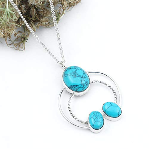 (Natural Blue Turquoise Pendant 925 Sterling Silver Gemstone Locket For Unisex jewelry Brhtdhy Gift Oval Shape Classic Vintage Art)