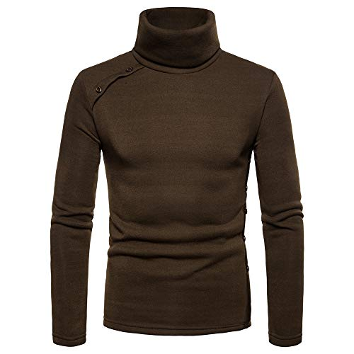 - Toimothcn Men's Turtleneck Sweater Solid Color Casual Pullover Button Choker Outwear Tops Blouse(Green,2XL)