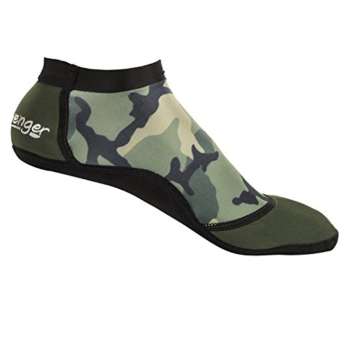Seavenger SeaSnug Low Cut Socks for Beach Volleyball, Protect Against Sand & Sunburn for Water Sports & Beach Activities (Green Camouflage, Large) - Camouflage Toe Socks