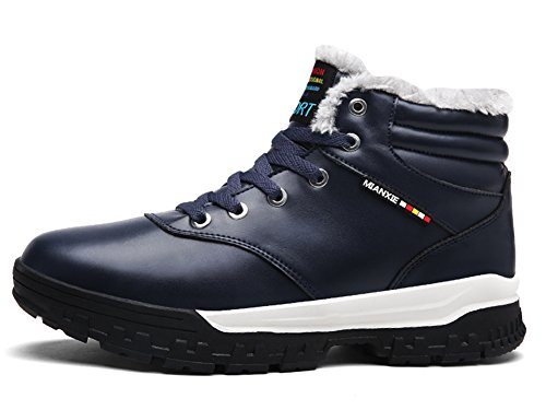 Warm Ankle Leathe Snow Lined up Waterproof Lace Men's Blue Booties High Boots Sneakers Winter Eagsouni Top Fur wqBXE6n