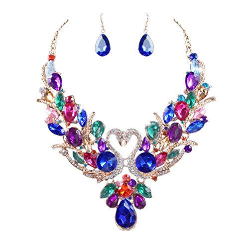 Chunky Costume - Yuhuan Women Costume Jewelry Crystal Statement Necklace and Earrings Sets Chunky Jewelry Set (Style3)