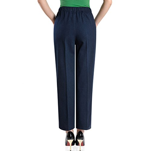 Donna Blue Middle Xxxxxl Pantaloni Alta Jeans amp;blue Waist Elasticizzati Pants Straight Aged Women Vita Zhhlaixing Embroidery Mother wRSq4f