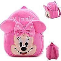 DZert Minnie Kids Bags for School 10Ltr Baby/Boys/Girls Velvet Backpack (Pink)