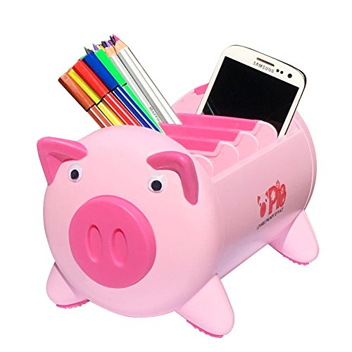 Office Desk Organizer Desktop Stationery Storage Box Collection Pen Pencil Mobile Phone Remote Control Holder Desk Supplies Organizer - Creative Pigs Plastic with 4 Adjustable Spaces