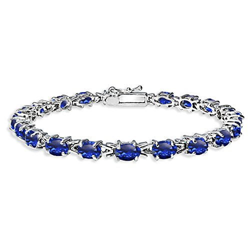 Sterling Silver Polished Created Blue Sapphire 6x4mm Oval-cut Link Tennis Bracelet