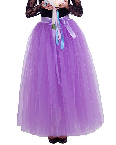Comall Femme Jupon sous Robe Jupe Tutu en Tulle 7 Couches 100cm Rtro Vintage Petticoat Lilas