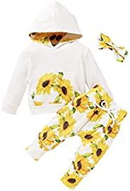 Tianhaik Newborn Infant Baby Girl Floral Clothes Set Hoodie Tops+Pants Headband Outfits