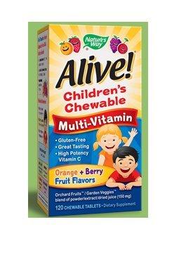 Nature's Way  Alive! Children's Premium Chewable Multivitamin, Fruit and Veggie Blend (150mg per serving), Gluten Free, 120 Chewable Tablets