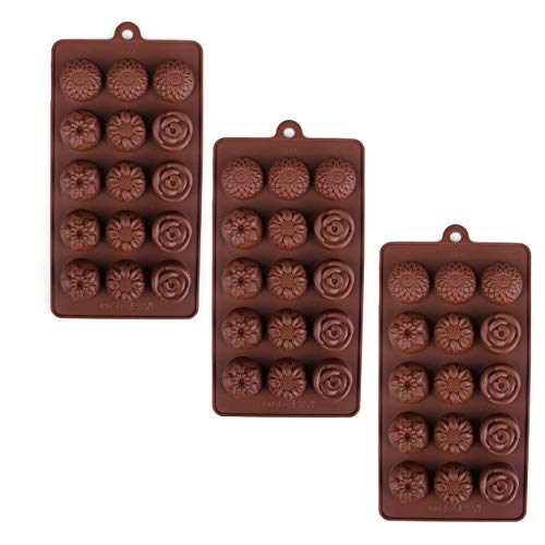 (3 Pack X Sunflower and Rose Flower Ice Cube Chocolate Soap Tray Mold Silicone Party maker (Ships From USA))