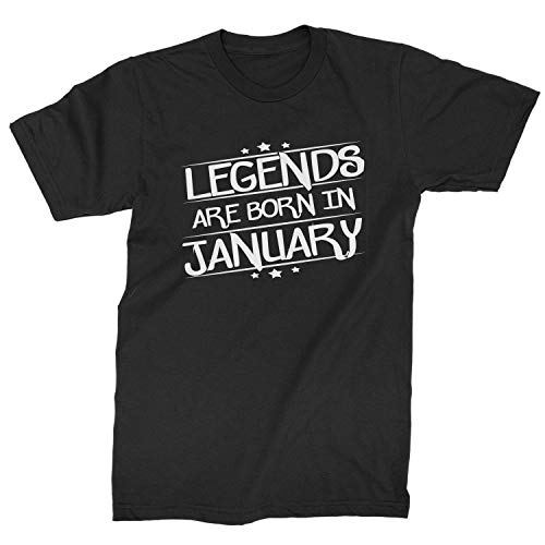 Legends Are Born Mens in January T-Shirt X-Large Black