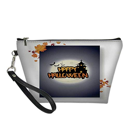 makeup bag pouchcosmetic carrying bagHalloween Vector Poster Flyer with autumn leaves and Happy Halloween lettering with grungy font 2 8.5