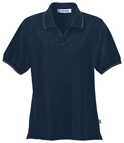 Ash City Women's Mini Ottoman Polo X-Small Midnight Navy w/Midnight Navy/ Desert Sand/ Pewter