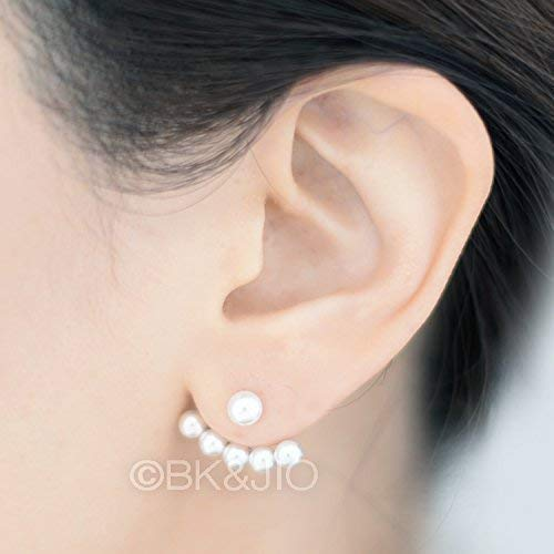 Porcelain square ear jackets  double sided earring  front and back earrings  sterling silver studs  square ear cuff  white ceramic cuff