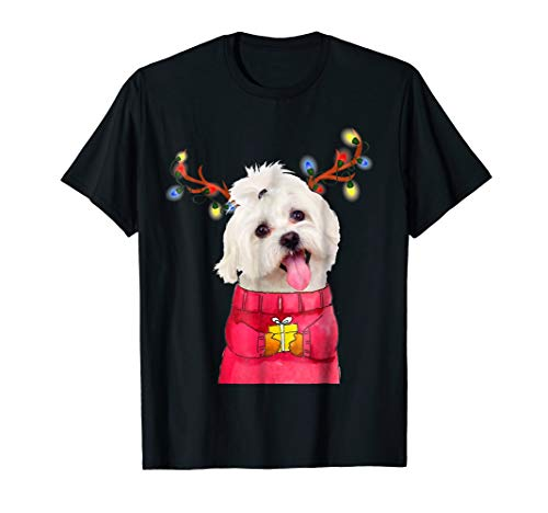 Christmas Dog Gift Bichon Maltese Terrier Antlers Xmas - Maltese Womens