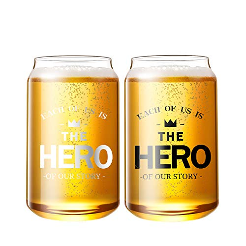 Lezero Cans Shaped Beer Glasses, Set of 2-100% HANDCRAFTED - Thicken Borosilicate Glass-Barware - Elegant Shaped Drinking Glass Cups Great for Any Drink and Any Occasion (12oz, 2Pcs) (Transparent)