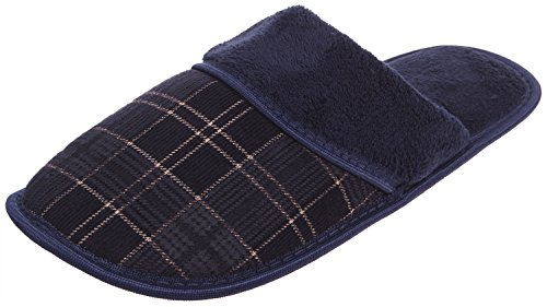 Enimay Mens Slippers House Shoes Slip On Padded Slides Soft Footbed 102 | Navy A6OB48xB6