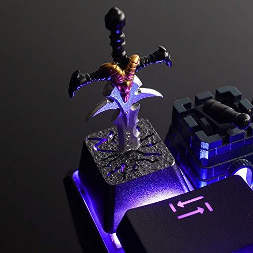 YYD Teclado Teclado Cap Wow Warcraft Arthas Frostmoure Estéreo 3D Teclado mecánico Teclado metálico Ligero Ligero,Gold: Amazon.es: Hogar