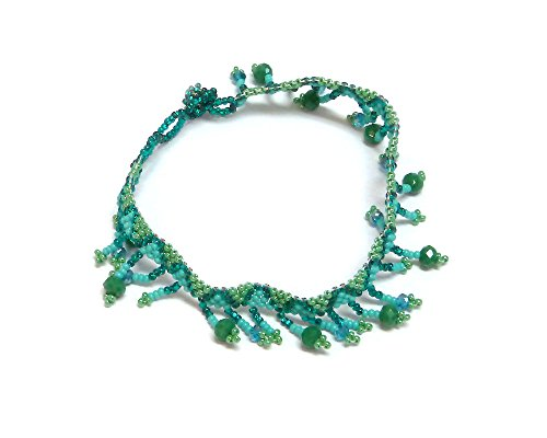 Mia Jewel Shop Seed Bead Crystal Bead Fringe Dangle Tribal Anklet (Turquoise/Teal/Mint)